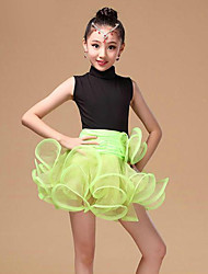 Latin Dance Dresses Children's Performance Organza / Milk Fiber Draped 1 Piece Fuchsia / Green / Red Latin Dance