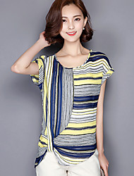 Women's Casual/Daily Cute Summer Blouse,Rainbow Round Neck Short Sleeve Yellow Polyester Medium