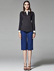 ZigZag® Femme Col Arrondi Manche Longues T-shirt Noir / Marron - 11021
