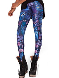 Для женщин Один цвет С принтами Legging,Полиэстер Ткань средней плотности