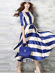 Women's Party A Line Dress,Striped Round Neck Maxi Short Sleeve Blue Polyester All Seasons