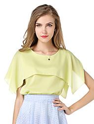 Ronde hals-Polyester-Gelaagd-Vrouwen-T-shirt-Korte mouw