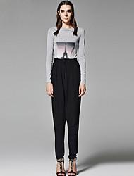 ZigZag® Femme Col Arrondi Manche Longues T-shirt Gris - 11019