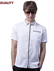 Trenduality® Hommes Col de Chemise Manche Courtes Shirt et Chemisier Noir / Blanc-82052