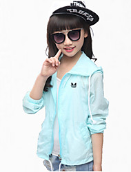 Girl's Blue / Pink / White Jacket & Coat,Cartoon Polyester Summer