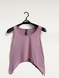 Women's Beach Sexy / Simple / Cute Summer Tanks,Solid U Neck Sleeveless Pink / Brown / Gray / Orange / Yellow / Purple Cotton / Polyester