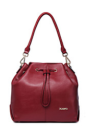 NAWO Women Cowhide Shoulder Bag Burgundy-N153041