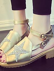 Women's Shoes Low Heel Sling back/Open Toe Sandals Dress/Casual Silver/Gold
