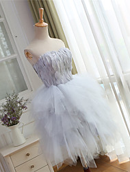 Cocktail robe de bal robe de bal sweetheart knee-length tulle avec plumes / fourrure
