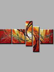 """Stretched (ready to hang) Hand-Painted Oil Painting 64""""x40"""" Canvas Wall Art Modern Abstract Golden Red"""