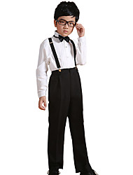 Boy's Cotton All Seasons Performing Arts Formal Shirt Pants Straps Bow Tie Four-piece Clothing Set