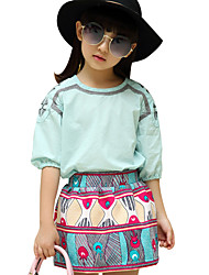 Girl's Cotton Summer New Product Peacock Short Sleeve T-shirt Short Dress Two-piece Clothing Set