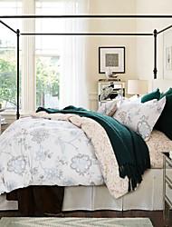 4 Pieces Queen Size 100% Cotton Stripe Pattern Duvet Cover Set