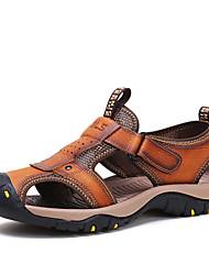 Для мужчин обувь Кожа Лето На эластичной ленте Назначение Атлетический Повседневные Коричневый Хаки