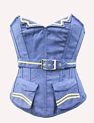 YUIYE® New Women V Collar Jean Sexy Lingerie Waist Training Corset Bustier Tops Shapewear Blue S-2XL