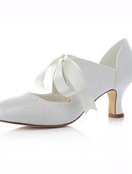 Women's Shoes Stretch Satin Chunky Heel Heels / Round Toe Heels Wedding / Party & Evening / Dress Ivory