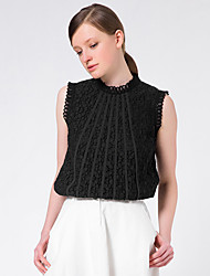 Goelia® Mujer Escote Chino Sin Mangas Camisa y blusa Negro-164W0A010