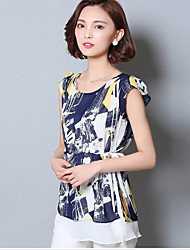 Women's Print Blue Blouse,Round Neck Short Sleeve