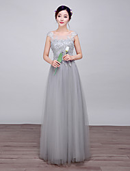 Formal Evening Dress Ball Gown Scoop Floor-length Lace / Satin / Stretch Satin with Pearl Detailing