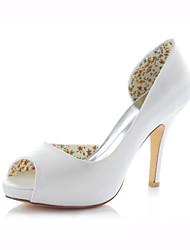 Women's Shoes Stretch Satin Stiletto Heel Heels / Peep Toe Sandals Wedding /  Dress Pink / Ivory / Champagne