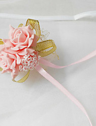 "Wedding Flowers Round Roses Wrist Corsages Wedding / Party/ Evening Polyester / Tulle / Foam 2.36""(Approx.6cm)"