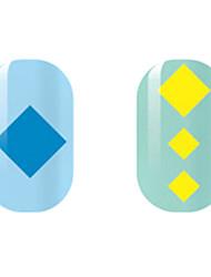 синий / желтый квадрат полые наклейки для ногтей