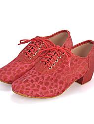 Sapatos de Dança(Preto / Azul / Vermelho / Prateado) -Feminino-Personalizável-Samba