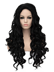 Europe and New High-Quality Fashion Synthetic Hair Wig High Temperature Black Long Curly Synthetic Hair