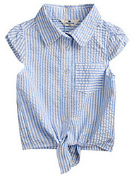 Girl's Blue Shirt,Stripes Cotton Summer / Spring