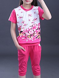 Girl's Pink / Purple / Red Clothing Set,Floral Cotton Summer