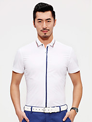 China famous Seven brand men's short sleeve shirt stretchy solid shirts man white cotton top shirts