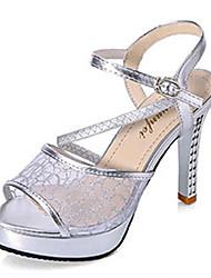 Women's Shoes PU Stiletto Heel Heels Sandals / Heels Wedding / Party & Evening / Dress / Casual Silver / Gold