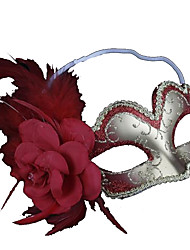 Flower Feather Silver and Red Half Face Masquerade Mask