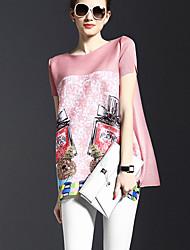 Women's Print Pink / Red Blouse,Round Neck Short Sleeve