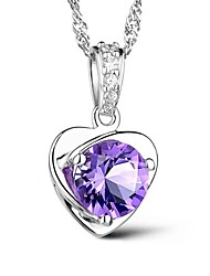 AAA Zircon Purple Heart Sterling Silver CZ Beads Necklace Pendant Necklaces Daily / Casual 1pc
