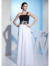 Formal Evening Dress A-line One Shoulder Floor-length Chiffon with Beading / Flower(s)