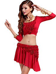 Belly Dance Outfits Women's Training Chinlon Appliques 1 Piece Purple / Red Belly Dance 3/4 Length Sleeve Natural
