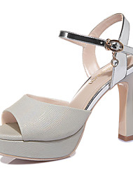 Women's Shoes Leatherette Cone Heel Heels / Peep Toe Sandals Wedding / Party & Evening / Dress Silver / Gold