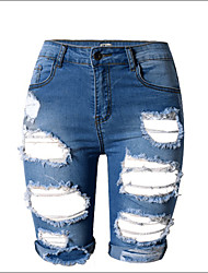 Burvogue Women's  High Waist Retro Ripped Hole Denim Shorts Jeans
