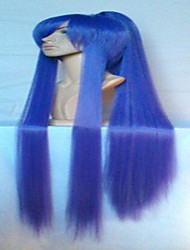 Wonderful Super Long Straight Purple Cosplay Wig with Ponytail Synthetic Hair Wigs Natural Animated  Party Wigs