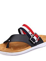 Men's Shoes Outdoor / Casual Leather Flip-Flops Black / White