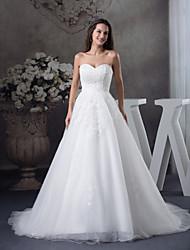 A-Linie Hochzeitskleid Hof Schleppe Herzausschnitt Satin / Tüll mit Applikationen / Perlstickerei