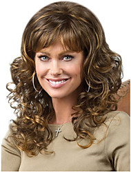 Women Long Cosplay Body Wave Fluffy Synthetic Hair Wig Full Bang Dark Brown with Free Hair Net