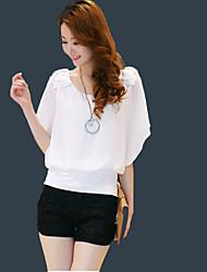 Damen Solide Einfach Lässig/Alltäglich Bluse,Rundhalsausschnitt Sommer Kurzarm Weiß / Gelb / Lila Polyester Dünn