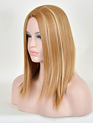 Sweet Girl New Arrival Blonde Brown Middle Long Straight Hair Synthetic Wigs