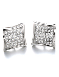 Earring Stud Earrings Jewelry Women Cubic Zirconia / Platinum Plated 2pcs Silver