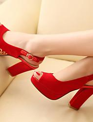 Women's Shoes Leatherette Chunky Heel Peep Toe Sandals Outdoor / Dress / Casual Black / Blue/113-2