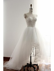 A-line Wedding Dress-Ivory Asymmetrical Sweetheart Lace / Tulle