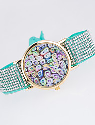 Women's European Style New Fashion Trend Rhinestone Casual Colorful Geometric Bracelet Watch