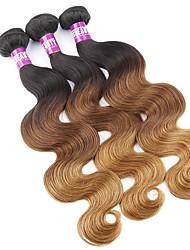 """3 PC / Los 16 """"-24"""" 7a malaysische reine Körperwelle Haarverlängerungen aus 100% unverarbeitetes reines Menschenhaar spinnt ombre"""